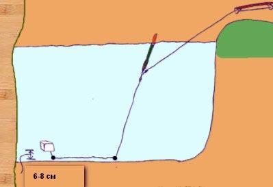 расположение насадки на карася относительно дна