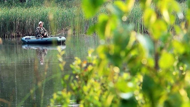 рыбак в лодке под камышом