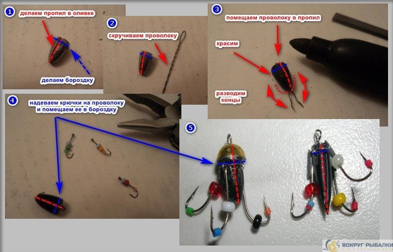 этапы сборки мормышки ведьма