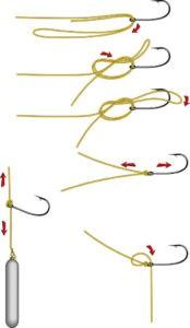 порядок вязания крючка узлом Паломар